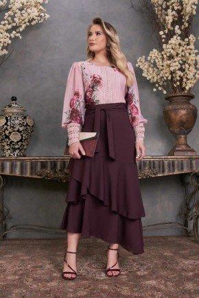 conjunto blusa floral maxi punhos saia babados fascinius