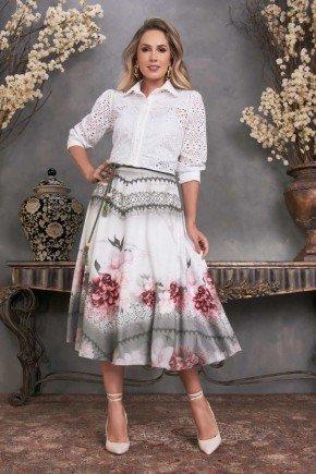 conjunto gode estampa floral camisas mangas 3 4 fascinius