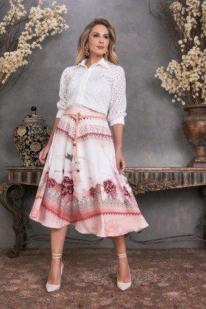 conjunto gode floral camisa manga 3 4 fascinius