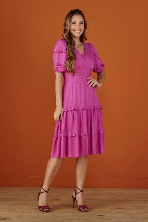 vestido violeta evase com babados tata martello