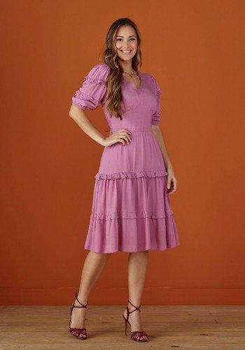 vestido lilas evase com babados tata martello