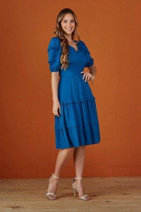 vestido azul evase com babados tata martello