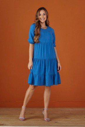 vestido azul soltinho mangas 3 4 bufantes tata martello