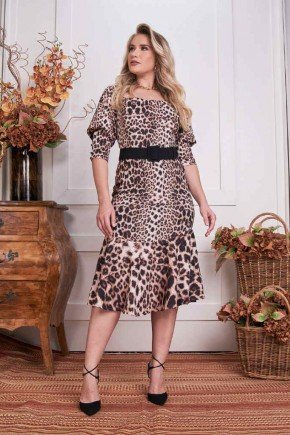vestido midi peplum animal print fascinius