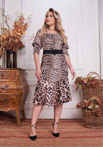 vestido midi peplum animal print fascinius