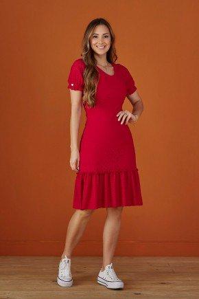vestido vermelho em lesie com babado tata martello