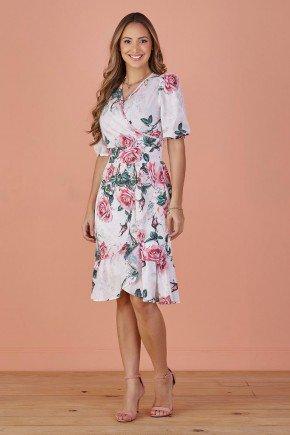 vestido rose transpassado floral tata martello