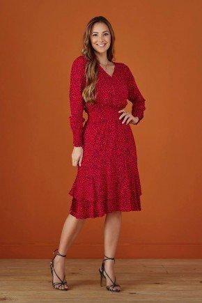 vestido transpassado vermelho manga longas tata martello