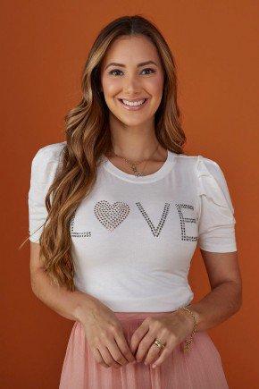 blusa feminina off white apliques frontais love tata martello