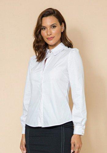 camisa tricoline branca detalhe frufru lekazis