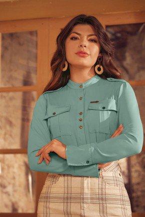 camisa feminina verde bolso cargo via tolentino