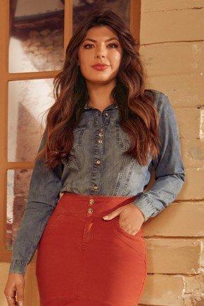 camisa feminina jeans mangas longas via tolentino cima