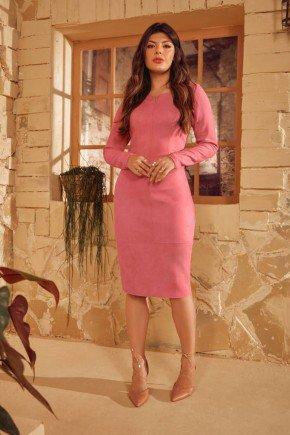 vestido tubinho em suede rosa via tolentino