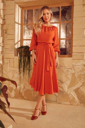 vestido laranja gode assimetrico via tolentino