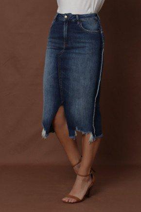 saia jeans barra irregular com desfiado via tolentino