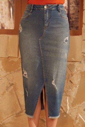 saia jeans com fenda e gancho aparente via tolentino