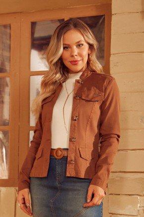 jaqueta feminina jeans marrom via tolentino cima