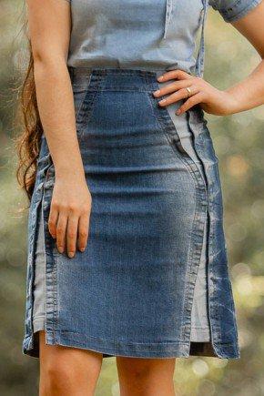 saia jeans evase recortes do avesso raje baixo