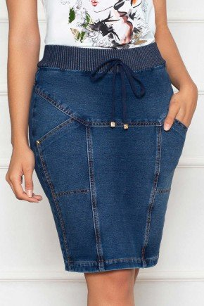 saia em malha denim cos em tricot nitido jeans baixo