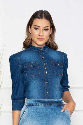 camisa feminina jeans mangas 3 4 nitido jeans cima