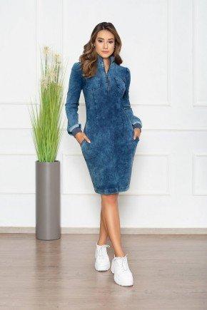 vestido em malha denim detalhes em tricot nitido