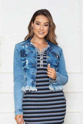 jaqueta jeans com barra destroyed nitido cima