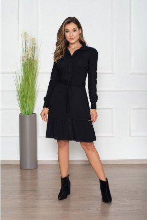vestido preto manga longa com cinto nitido