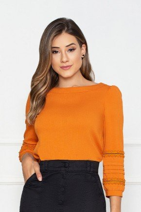 blusa laranja manga 34 detalhe guippir nitido jeans cima