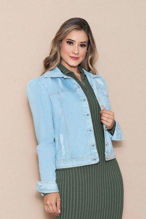 jaqueta feminina jeans destroyed claro nitido cima