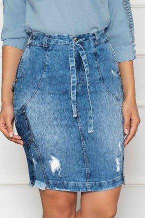 saia jeans com amarracao no cos nitido baixo
