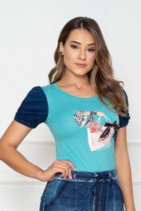 t shirt azul estampada manga curta nitido jeans