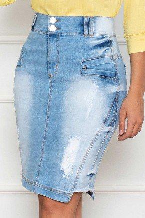 saia jeans clara com recorte lateral nitido