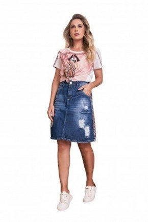 saia jeans destroyed detalhe animal print fascinius