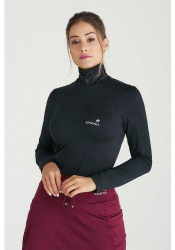 blusa manga longa gola alta preta tecido peluciado termico protecao uv50 epulari