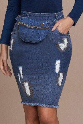 saia jeans justa barra desfiada com puidos titanium baixo