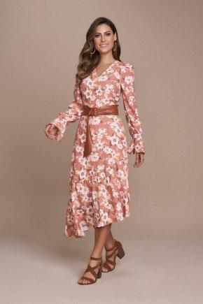 vestido bicolor assimetrico com florais titanium jeans