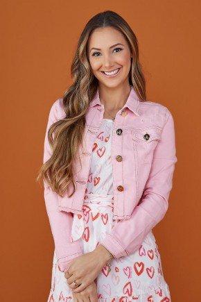 jaqueta feminina jeans rosa claro tata martello