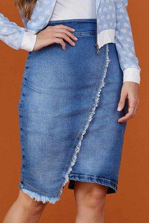 saia jeans recorte assimetrico com desfiados tata martello baixo