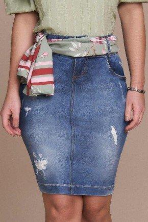 saia reta azul jeans com puidos titanium baixo