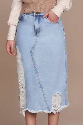 saia evase jeans destroyed barra desfiada titanium