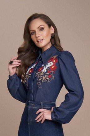 camisa jeans detalhe bordado industrial titanium cima