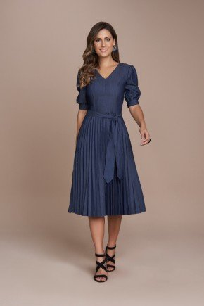 vestido marinho plissado jeans titanium