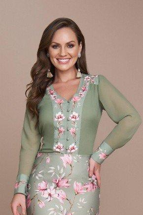 blusa estampada em crepe verde titanium