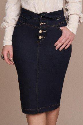 saia tradicional jeans com cos dobrado titanium baixo