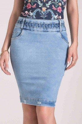 saia jeans sustentavel detalhe pregas no cos laura rosa baixo