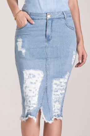saia jeans claro detalhes em destroyed laura rosa baixo