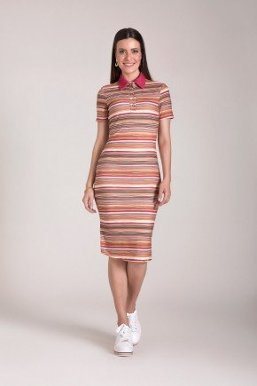 vestido polo malha estampado laura rosa