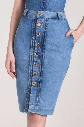 saia lapis jeans botoes frontais laura rosa baixo