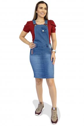jardineira jeans frente