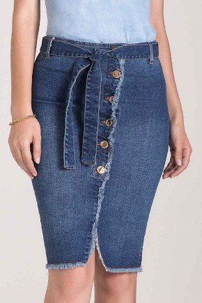saia lapis jeans recorte frontal barra desfiada laura rosa baixo